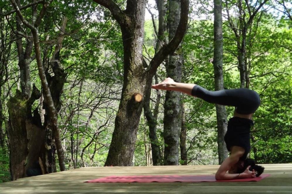Los alumnos del centro Yoga Studio Nature practican sus asanas en...