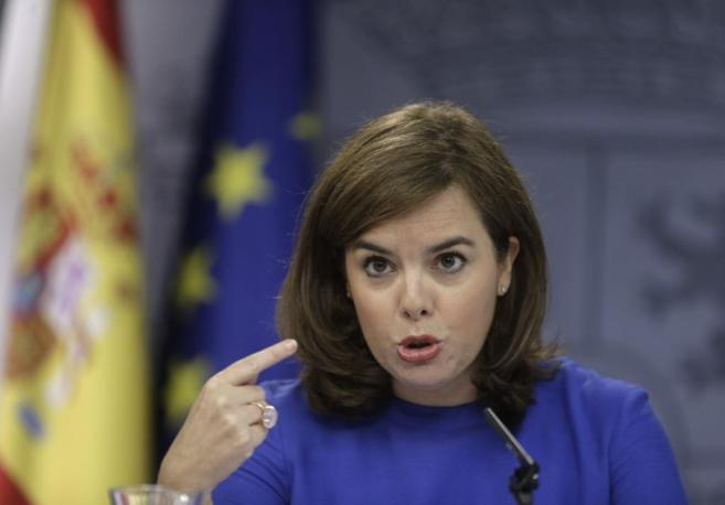 Soraya Sáenz de Santamaría, en la rueda de prensa tras el Consejo de...