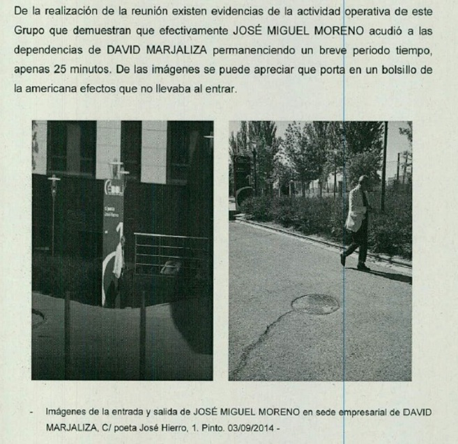 Fragmento del sumario con el informe de la Guardia Civil con la salida...