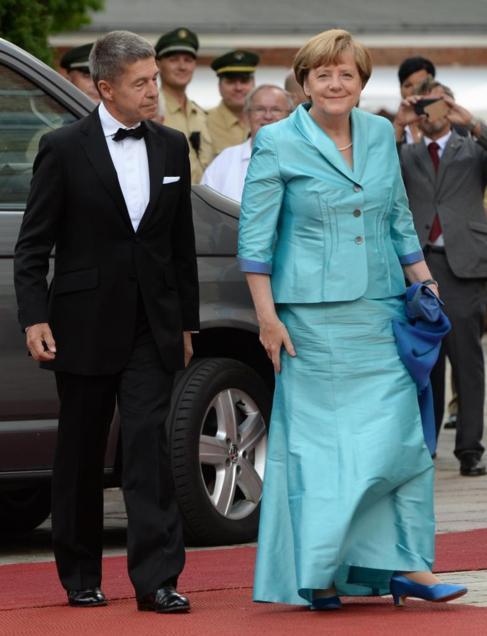 Angela Merkell y su marido, el sábado, en Bayreuth.