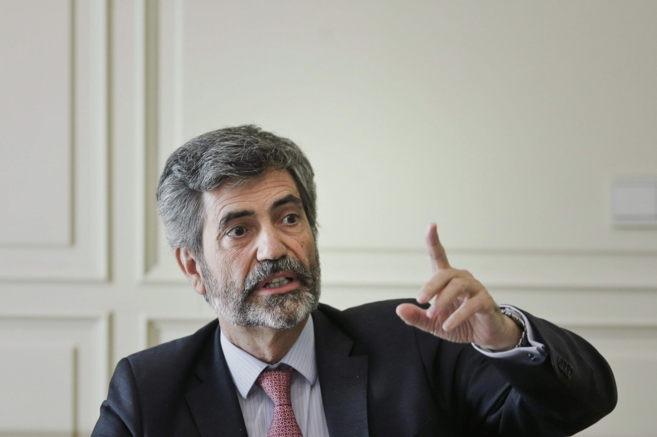 Carlos Lesmes, presidente del CGPJ, durante una reunión con la...