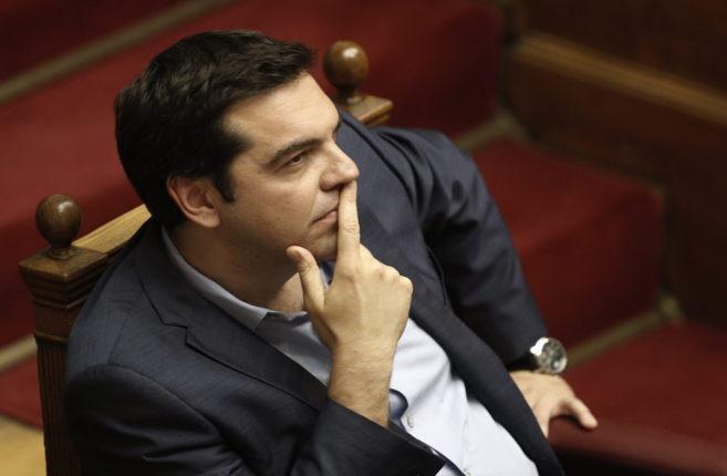 El primer ministro griego, Alexis Tsipras, durante la aprobación del...