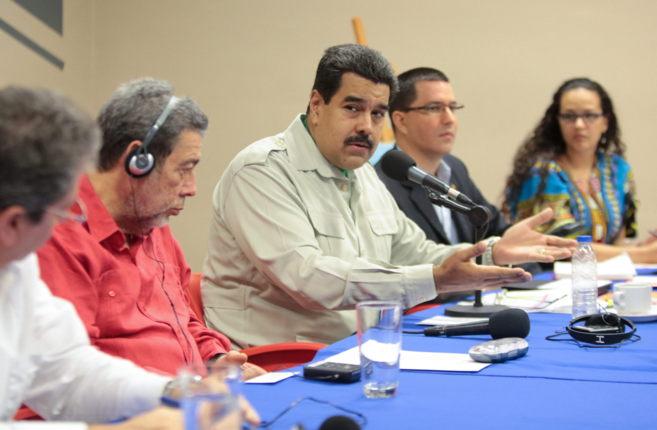 El presidente venezolano, Nicolás Maduro, durante la reunión en la...