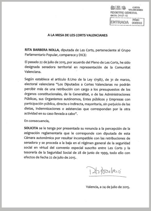 Escrito de renuncia al sueldo de diputada de Barberá. EL MUNDO