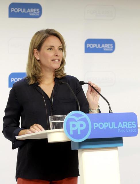 Arantza Quiroga durante la rueda de prensa