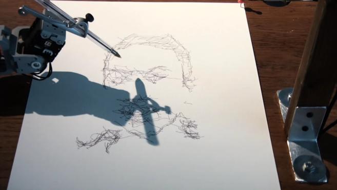 Fotograma de la grabación de la pieza '5 robots named Paul'