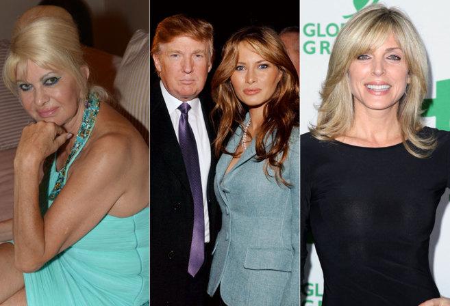 De izq. a dcha. : Ivana Trump, Donald Trump junto a su actual esposa...