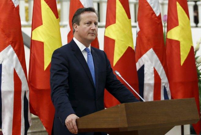 El primer ministro británico, David Cameron, durante sus...