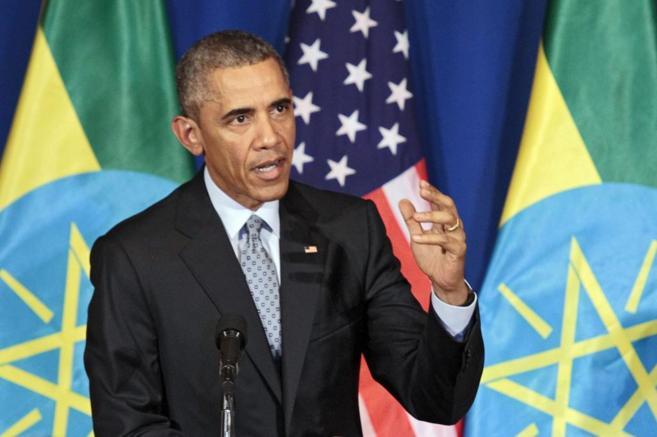 El presidente de EEUU durante su rueda de prensa en Etiopía.