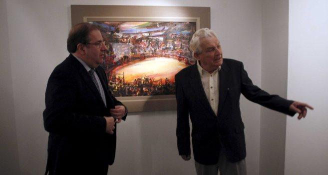 El pintor Ignacio del Río, a la derecha.