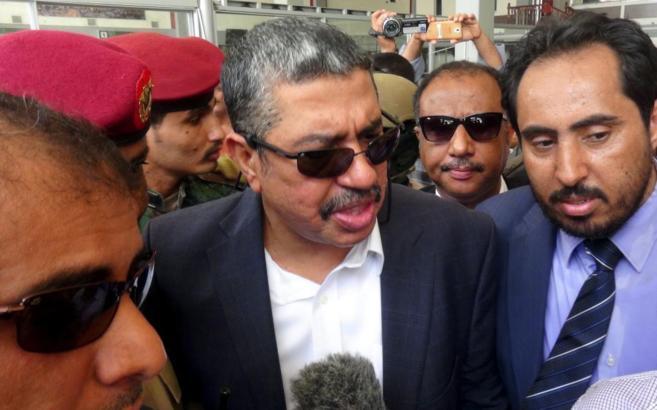 El vicepresidente Jaled Bahah a su llegada en el aeropuerto de la...