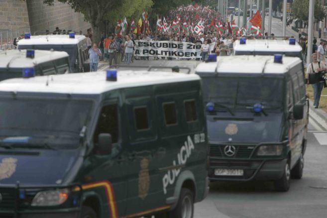 Un operativo de la UIP en una manifestación en Pamplona.