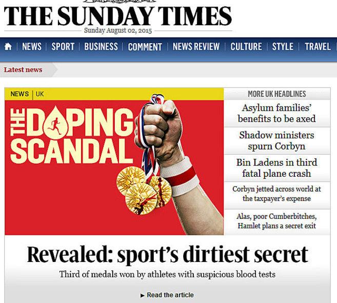 Portada de deportes del The Sunday Times.