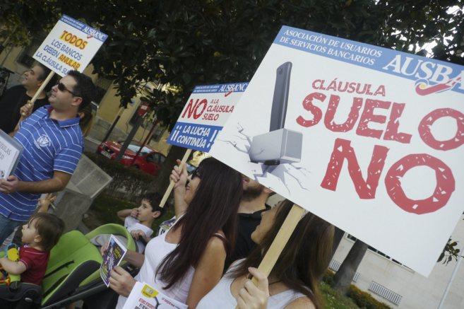 Imagen de un momento de la concentración de protesta contra las...