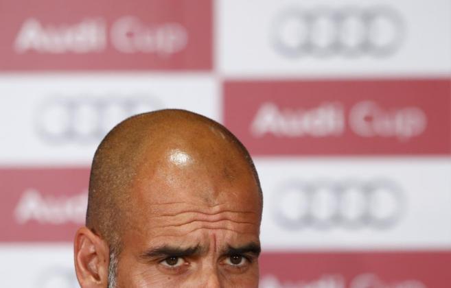 Josep Guardiola, en la rueda de prensa previa a la Audi Cup.