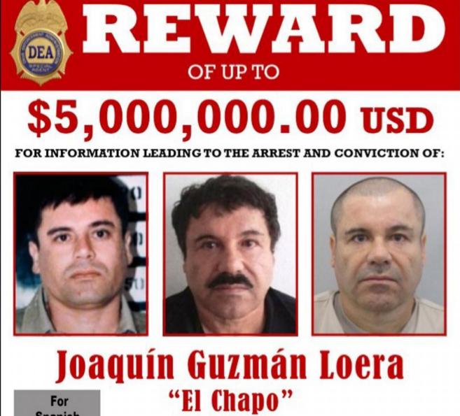 Cartel de la DEA en el que se ofrecen 5 millones de dólares por...