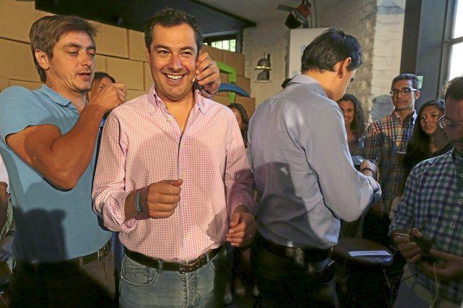 Juan Manuel Moreno, presidente del PP andaluz, en un acto en Sevilla.