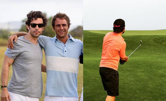 Alonso Aznar junto a Juan Pepa (izda.) y jugando a golf en Marbella...
