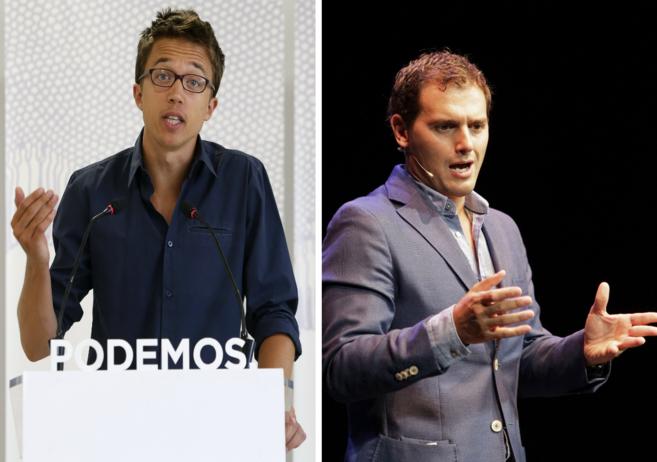 Íñigo Errejón, número dos de Podemos, y Albert Rivera, líder de...