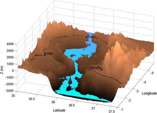 Recreación del Estrecho de Gibraltar durante el proceso de llenado...