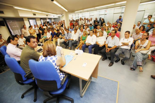 Dolón, Maillo y Bonig en el acto celebrado ante los militantes en la...