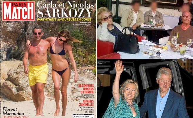 El matrimonio Sarkozy, en Córcega: Chirac, en Agadir; y los Clinton...