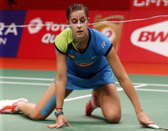 Carolina Marín tras un punto, durante el partido de cuartos del...