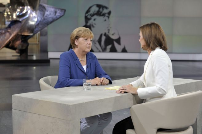 La canciller alemana, Angela Merkel, durante una entrevista en la...