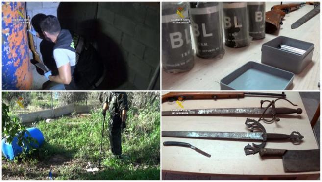 Imágenes facilitadas por la Guardia Civil sobre el material hallado...