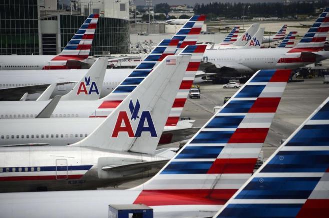 Aviones de American Airlines en el aeropuerto de Miami.