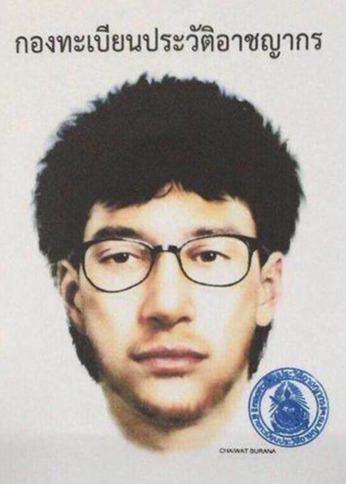 Imagen distribuida por la policía tailandesa del sospechoso del...