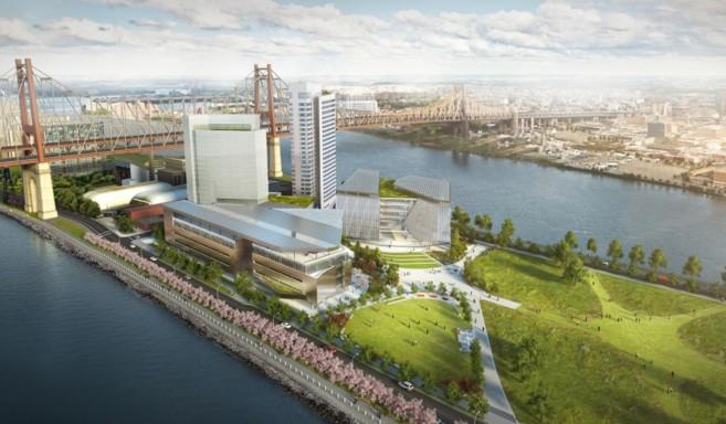 Recreación de la panorámica de la Isla Roosevelt con el edificio...