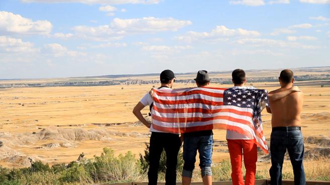 Los cuatro amigos durante su viaje por Estados Unidos.