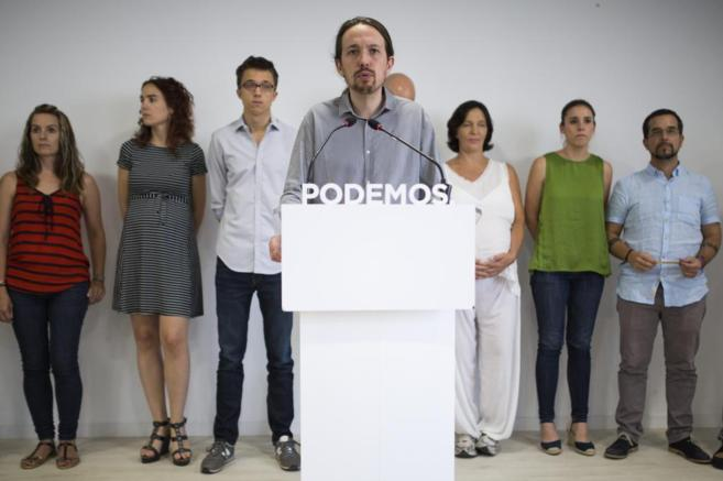 Pablo Iglesias en una rueda de prensa de Podemos.