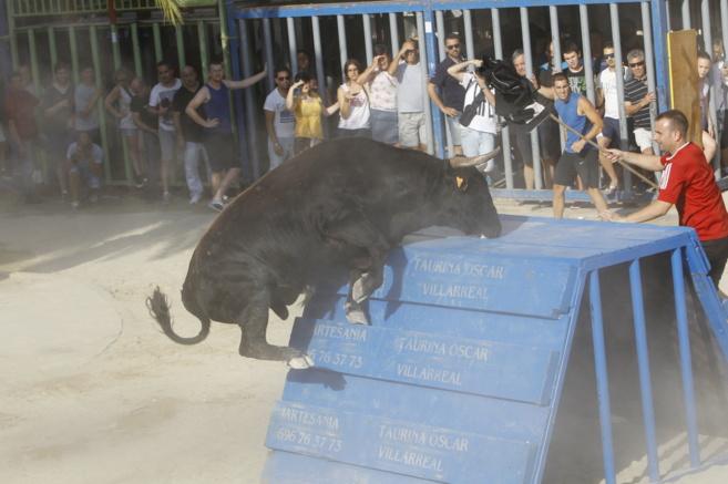 Un toro intenta embestir a un participante durante las fiestas del...