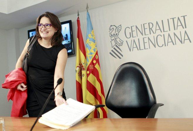 La vicepresidenta Mònica Oltra, antes de su comparecencia pública.