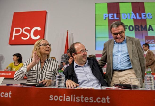 Assumpta Escarp, junto a Miquel Iceta y Angel Ros en un acto del...