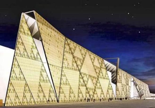 Diseño de la fachada principal del Gran Museo Egipcio.
