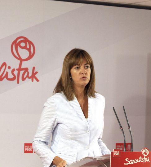 La secretaria general del PSE-EE, Idoia Mendia, en su comparecencia de...