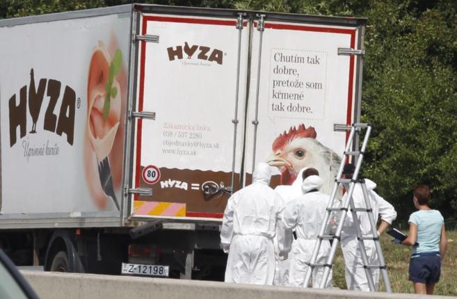 Forenses se preparan para acceder al camión