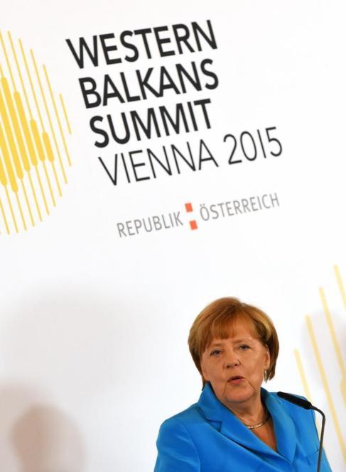 Angela Merkel, en la Cumbre de los Balcanes en Viena.