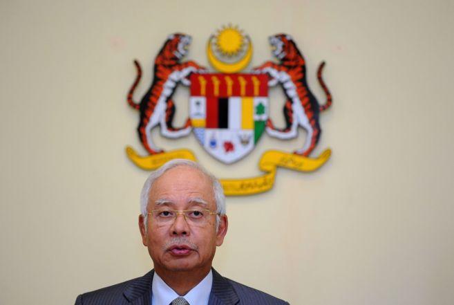El primer ministro Nayib Razak, durante una rueda de prensa en...