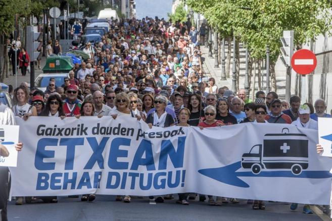 Manifestación en favor de los presos de ETA enfermos durante las...