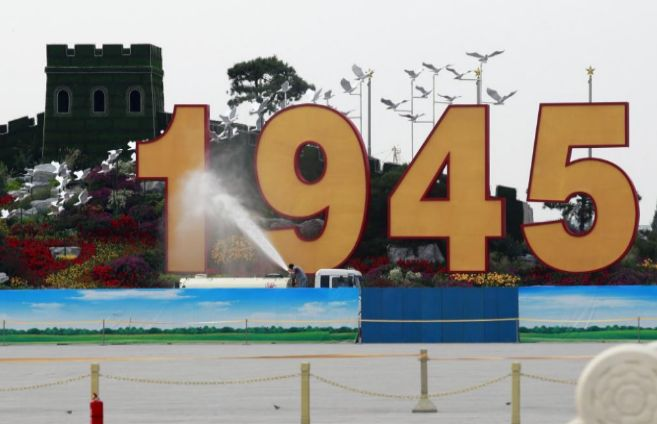 Prepartivos para el desfile por el 70 aniversario final de la II...