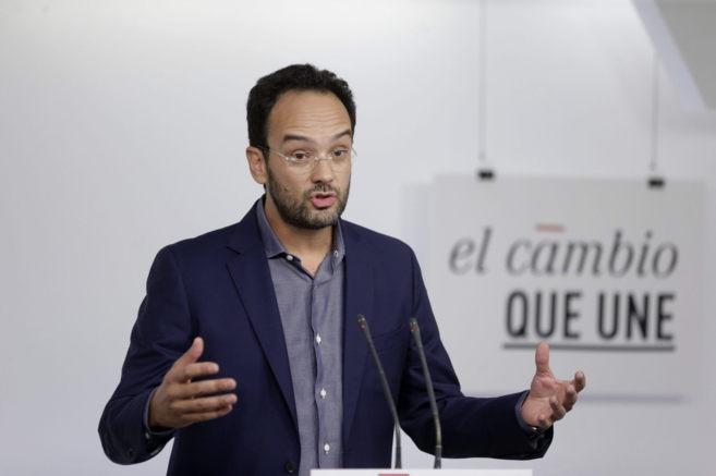 El portavoz socialista en el Congreso, Antonio Hernando, durante su...