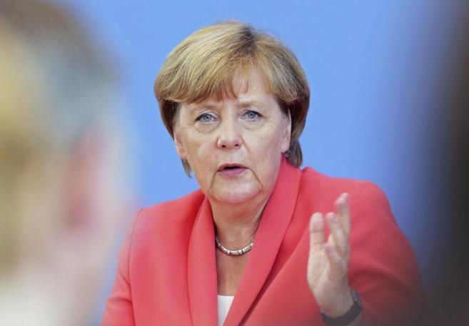 La canciller alemana, Angela Merkel, durante la rueda de prensa anual...