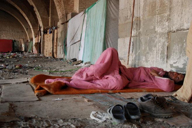 Refugiados en el puente de Trieste.