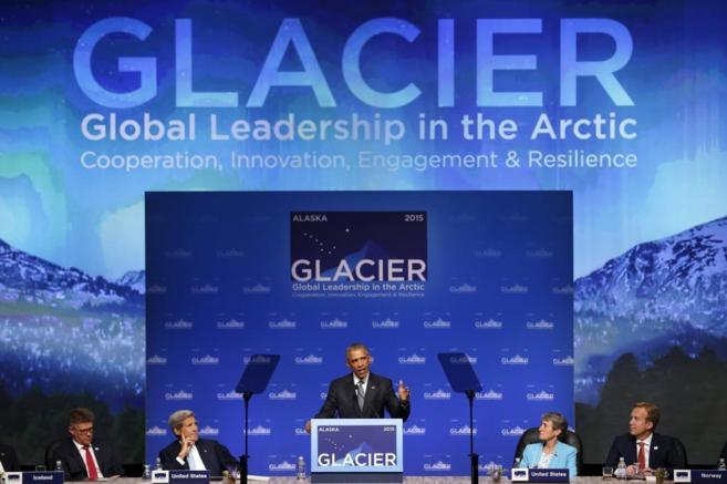 Obama durante su discurso en la Conferencia sobre el Ártico en...