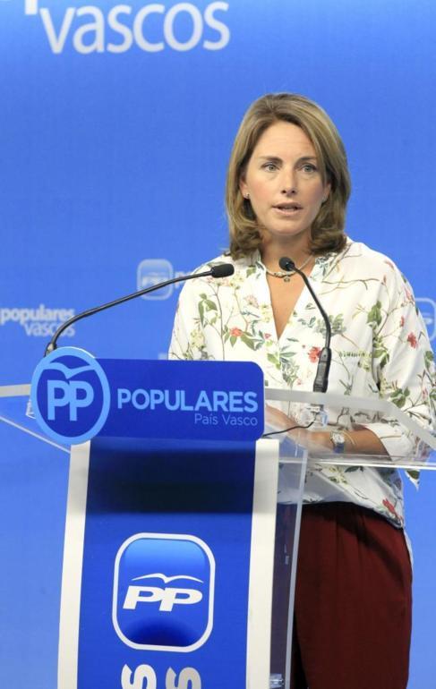 Arantza Quiroga, durante la rueda de prensa que ha ofrecido hoy en...