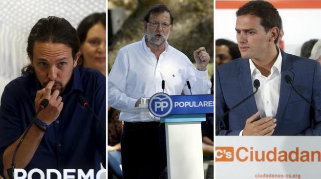 De izquierda a derecha: Pablo Iglesias, Mariano Rajoy y Albert Rivera